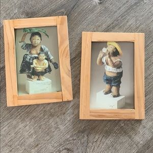 Set of 2 vintage Japanese pictures
